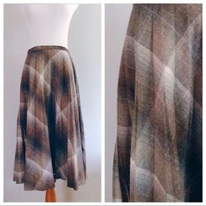 Vintage Wool Blend Pleated Plaid Skirt
